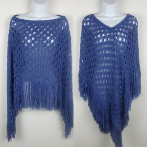 Azure Blue Crochet Fringe Poncho One Size